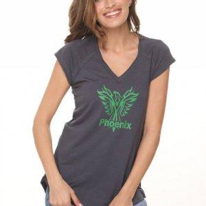 חולצת וי כותנה אפורה פיניקס