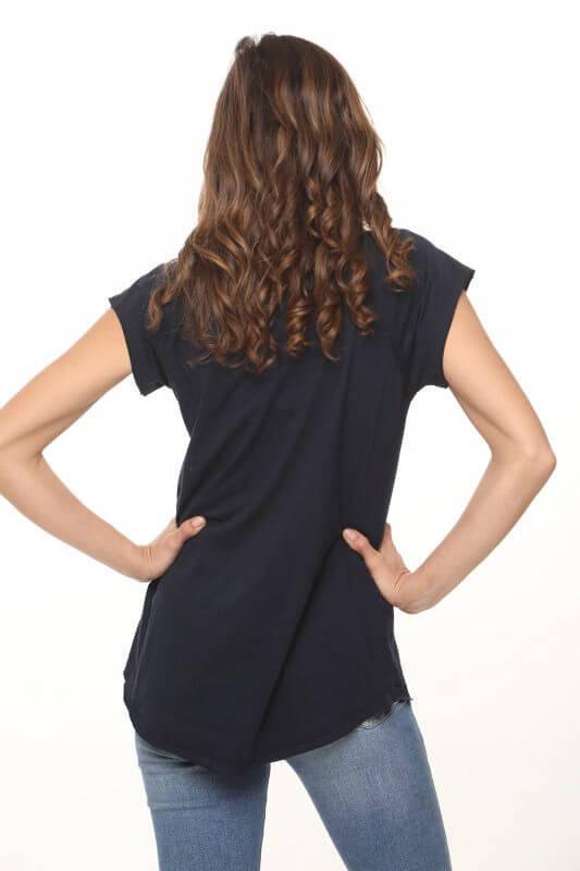 חולצת וי כותנה כחולה פיניקס