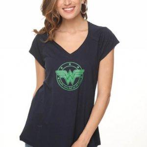 חולצת וי כותנה כחולה w