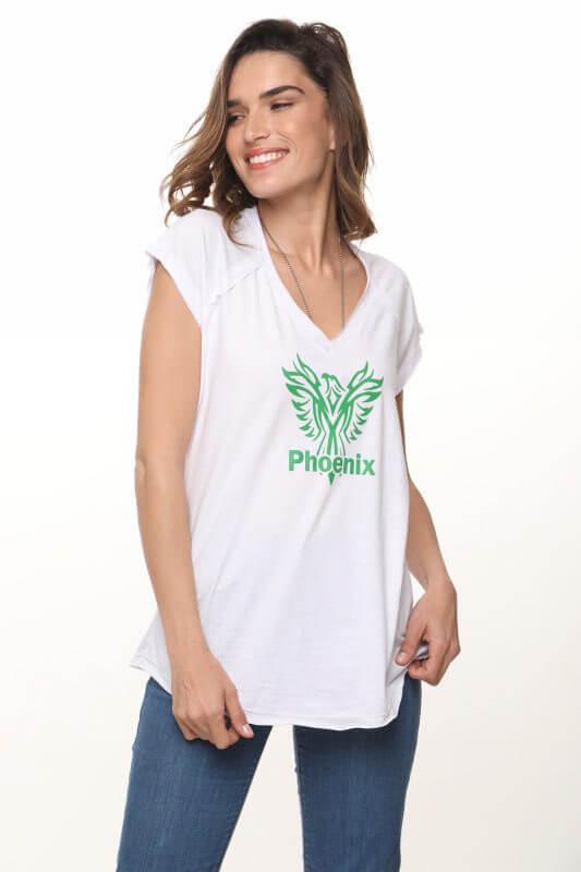 חולצת וי כותנה לבנה פיניקס