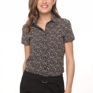 חולצת כפתורים אפור פרחוני