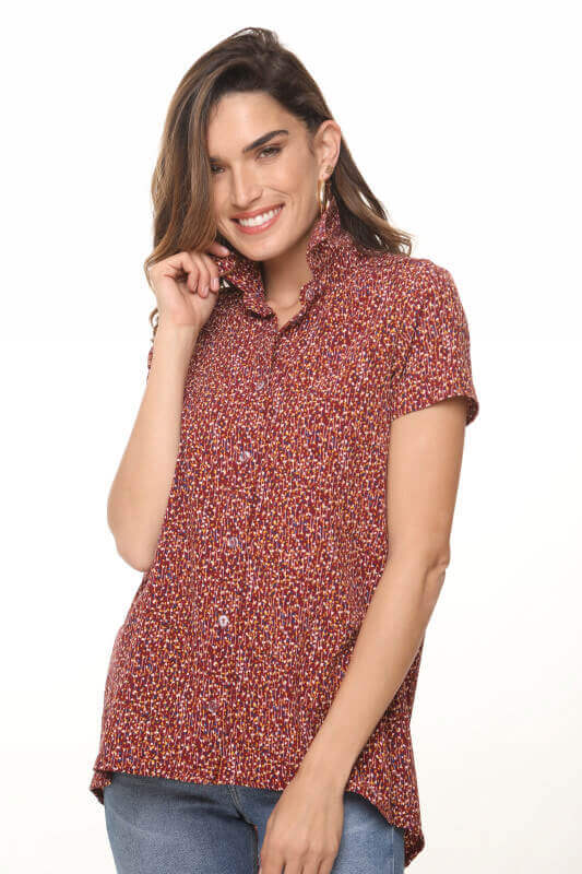 قميص بورجوندي زهري بأزرار