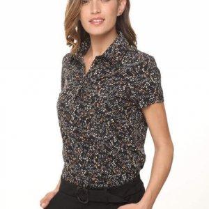 חולצת כפתורים פרחוני שחור חום