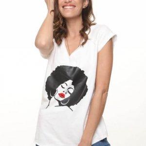 قميص فرانز تيري الأفرو الأبيض