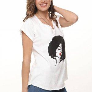 חולצת פרנץ טרי לבנה אפרו