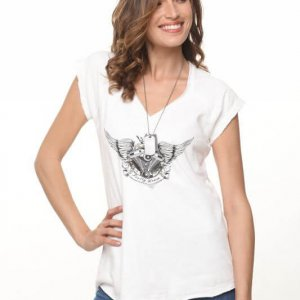 חולצת פרנץ טרי לבנה כנפיים