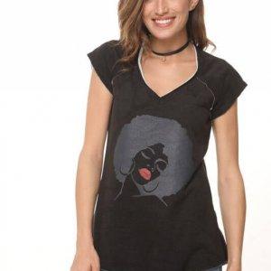 חולצת פרנץ טרי שחורה אפרו