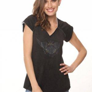 חולצת פרנץ טרי שחורה כנפיים