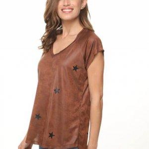 قميص على شكل جلد بني نجمي