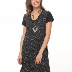 فستان برقبة على شكل V يجمع بين الأسود والأبيض والقطن