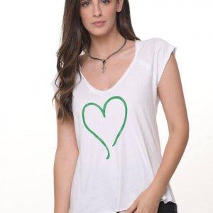 בייסיק ליאן כותנה לבנה לב ירוק