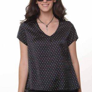 חולצה הילונת סטאן שחור נקודות צבעוניות