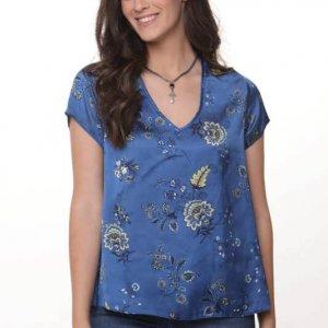 חולצה הילונת סטאן כחול פרחוני