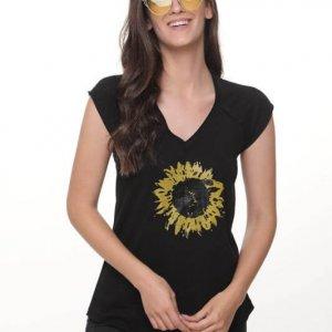 قميص قطن أسود عباد الشمس