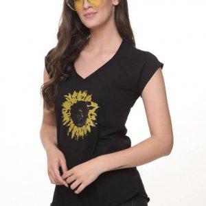 חולצה חמניה כותנה שחורה