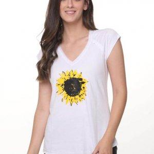 قميص أبيض من القطن عباد الشمس