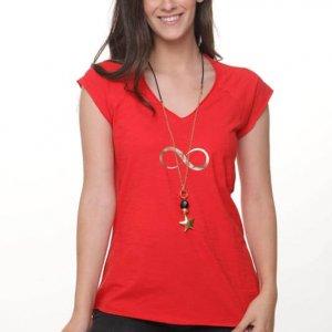 חולצה סלעית כותנה אדומה