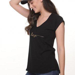 חולצה ריצל כותנה שחורה
