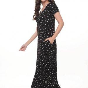 فستان جلات ماكسي أسود وأبيض