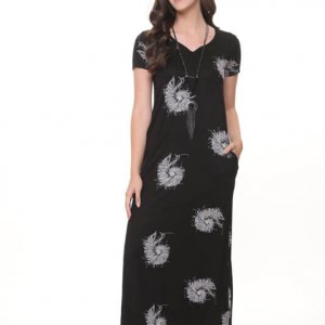 فستان أسود طويل القواقع Gilat