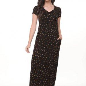 فستان جلات ماكسي باللونين الأسود والبرتقالي