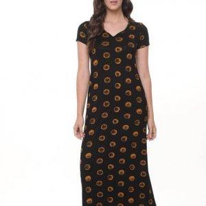 שמלה גילת מקסי שחור עיגולים