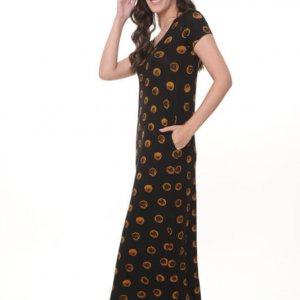 فستان جلات طويل بدوائر سوداء