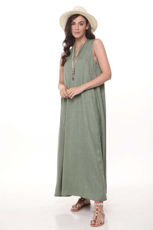 שמלה ונסה מקסי ירוקה