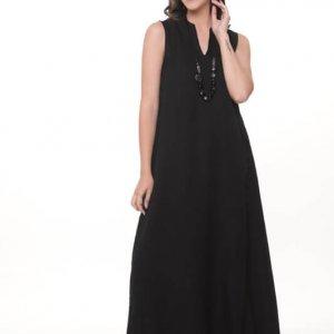 שמלה ונסה מקסי שחורה