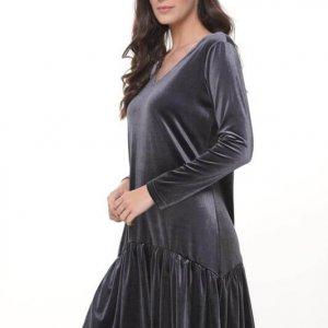 فستان من المخمل باللون الرمادي من الياسمين