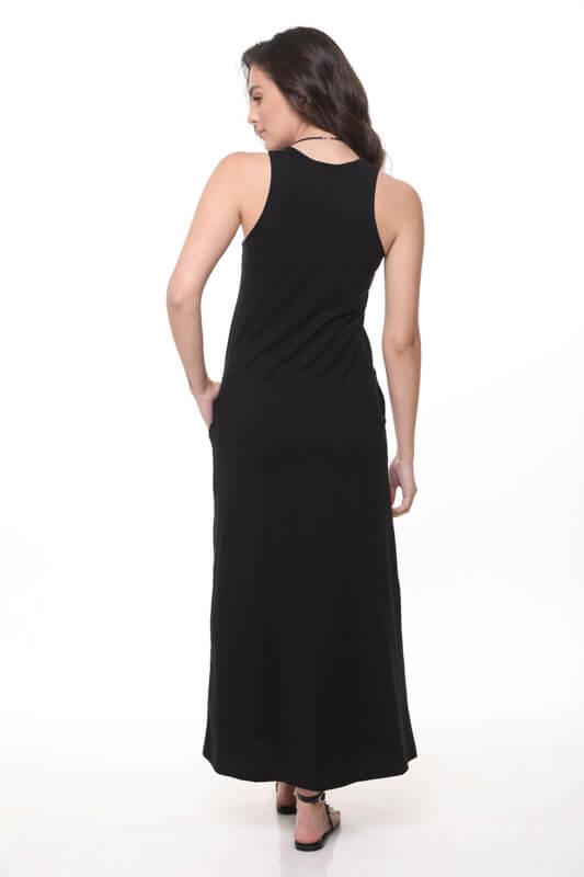 שמלה סילין שחורה כותנה