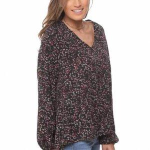 قميص لورين أسود زهري
