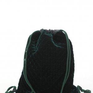 תיק גב שרוכים קטיפה ירוקה