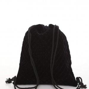 حقيبة ظهر مخملية سوداء برباط