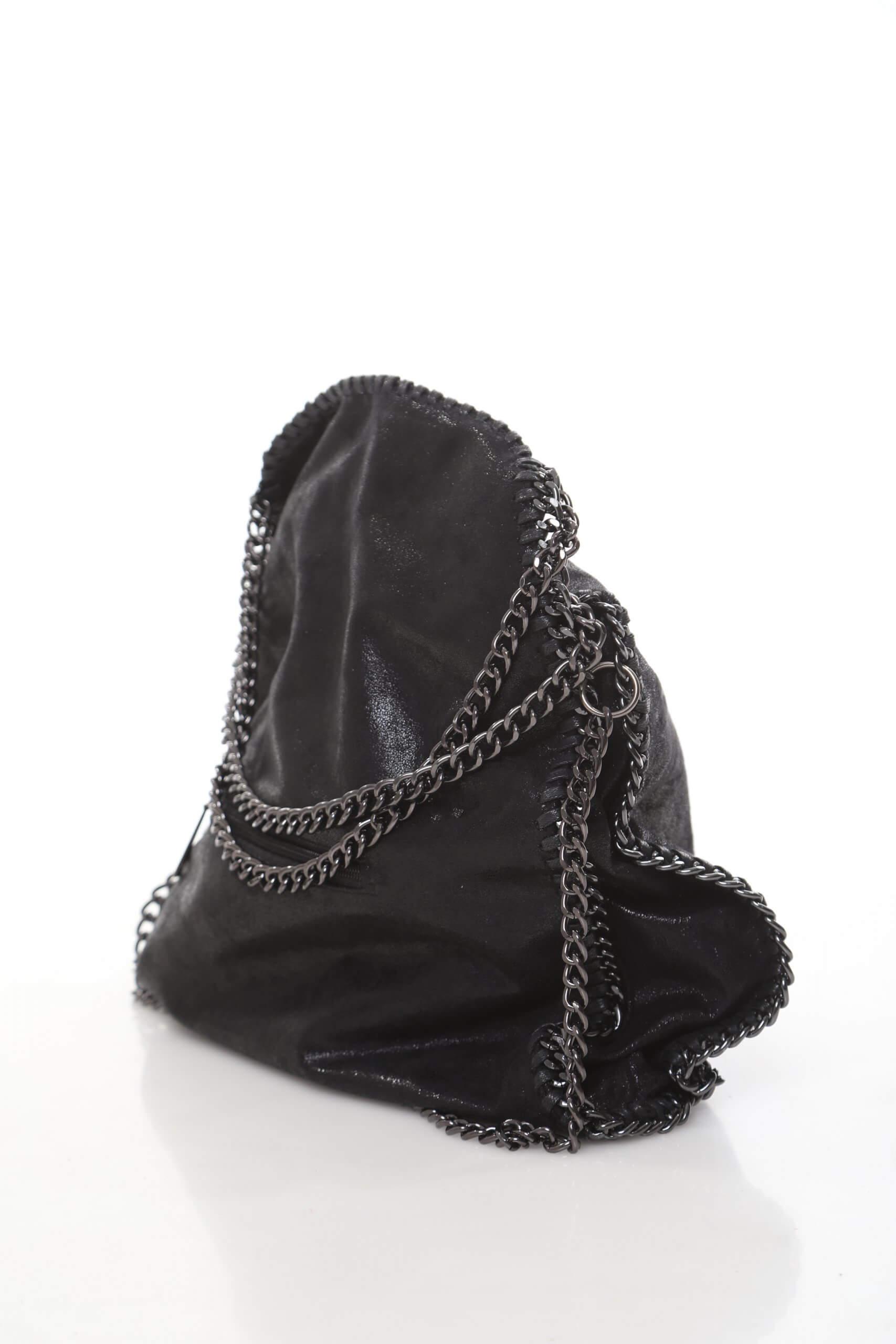 תיק צד דמוי עור שחור שרשרת כסף