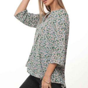חולצה גילית ירוק פרחי חמניה