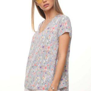 قميص منسوج رمادي ملون