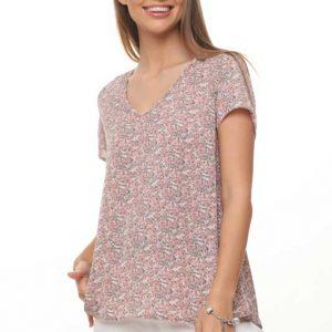 قميص منسوج زهري وردي