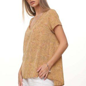 قميص منسوج زهري بني