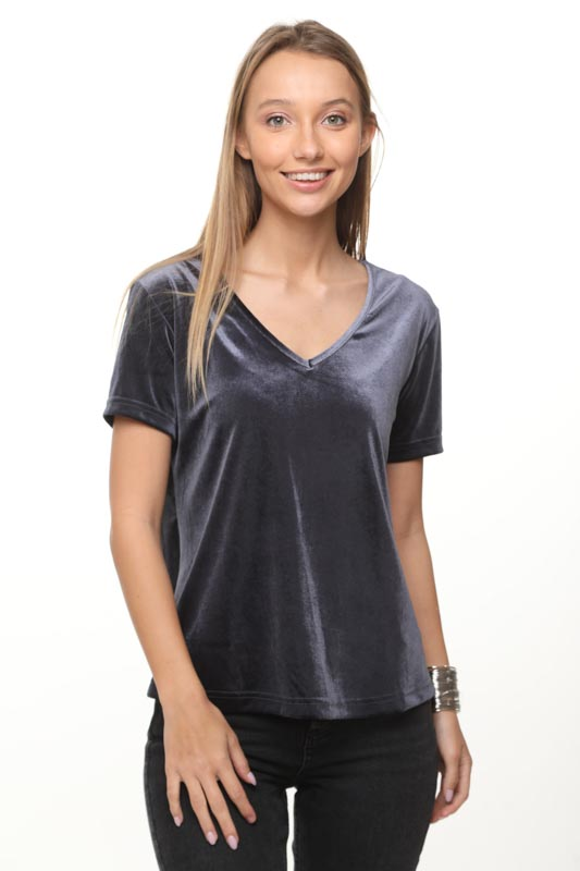 قميص نيكيتا المخمل الرمادي