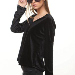 قميص أسود مخملي نيريت
