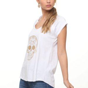 قميص أبيض الربيع بطبعة ذهبية