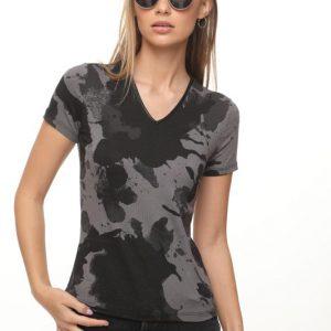 قميص أودري العسكري الأسود الرمادي