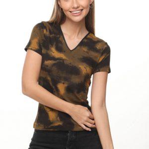 قميص أودري الخردل الأسود