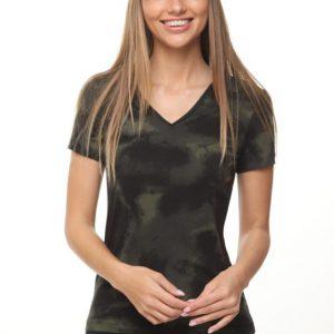 قميص أودري الأسود والأخضر