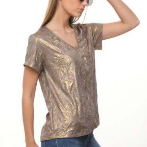 قميص ذهبي مجعد على شكل وردة