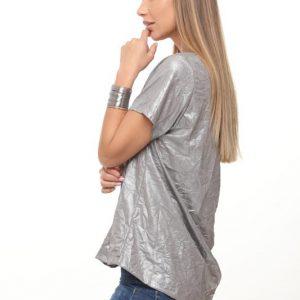 قميص ورد فضي مجعد