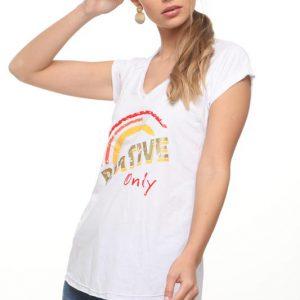 חולצה טיטי לבנה זהב