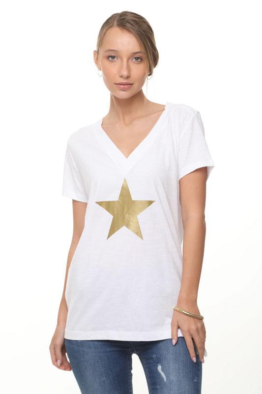 قميص ليما أبيض على شكل نجمة