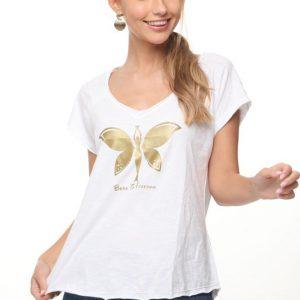 قميص ميرا أبيض فراشة ذهبية
